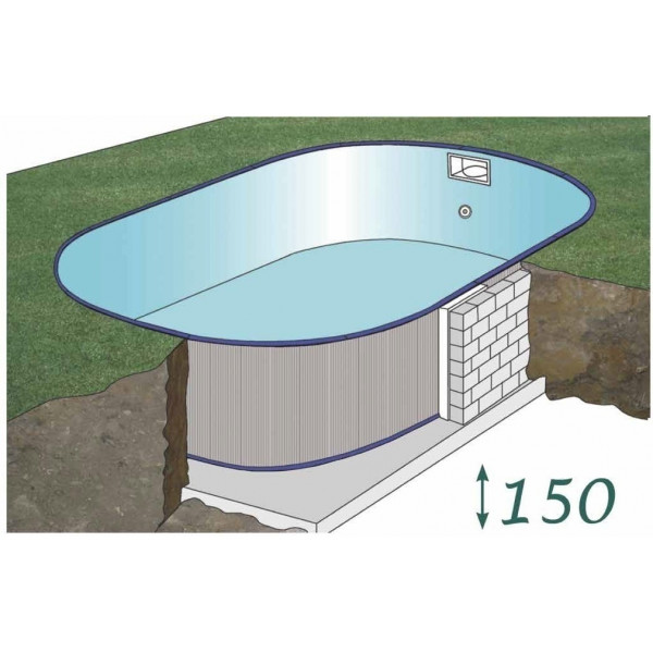 Kit piscine acier enterr e ovale 610 x 375 h 150 for Piscine acier rectangulaire