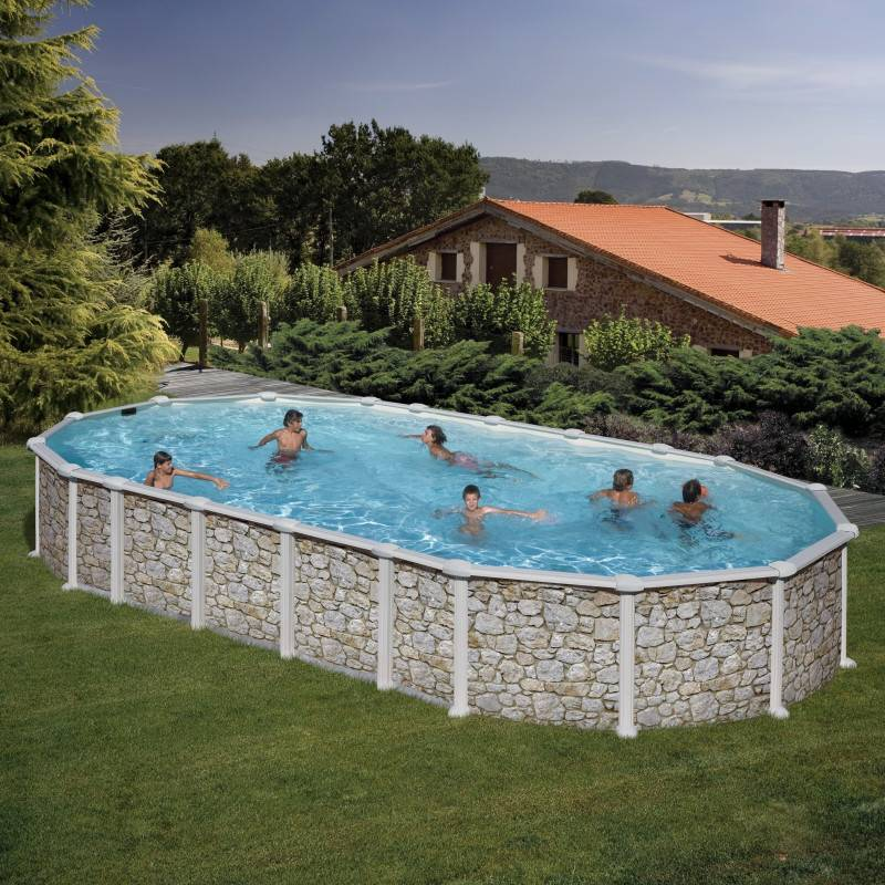 Piscine hors sol dream pool ovale mykonos 915 x 470 h 132 for Echelle piscine hors sol pvc