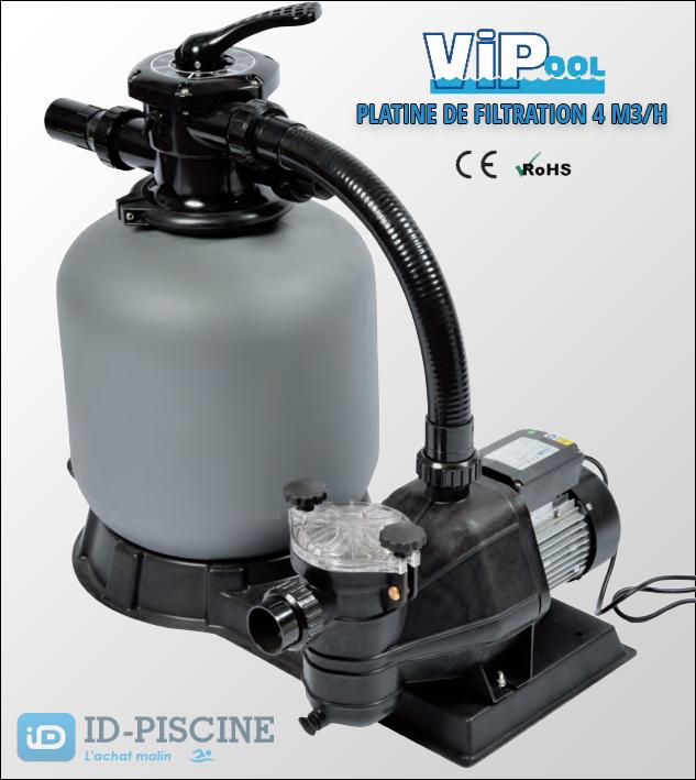 Platine de filtration sable vipool 4 m3 h livraison for Pompe piscine sable
