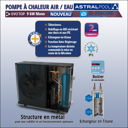 Pompe chaleur air eau evo top 9 kw mono 48672m for Pompe piscine stp 35 mono