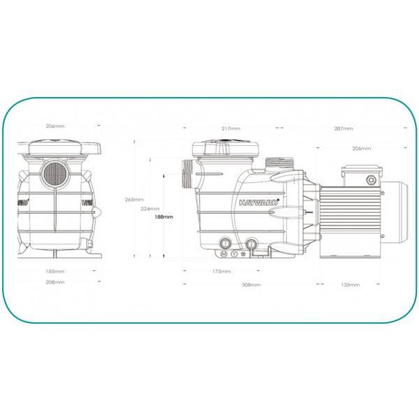 Pompe Filtration Piscines Hayward Powerline 0,25 cv Mono