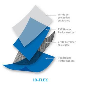 PVC armé ID-FLEX Standard Uni rouleau 41,25 m2 - Largeur 1,65m (coloris disponibles)