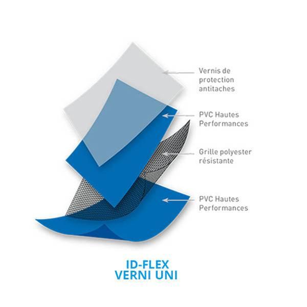 PVC armé ID-FLEX Supérieur verni Uni rouleau  51.25 m2  - Largeur 2,05m (coloris disponibles)