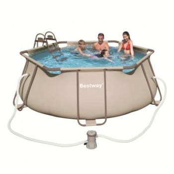 Kit piscine hors sol Steel Pro Frame Pools Hexagonale diam 356 h 102