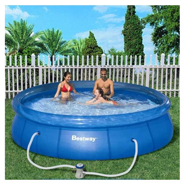 Kit piscine hors sol fast set pools cristal ronde diam 366 for Piscines gonflables