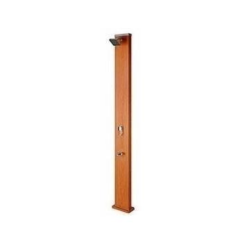 Douche solaire Aluminium aspect bois 32L forme CARREE avec rince pieds
