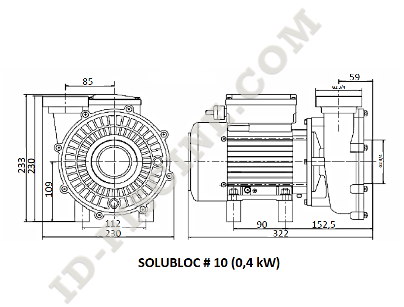 Dimensions pompe Solubloc 10