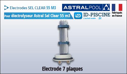 Electrode Astral pour électrolyseur Sel Clear 55 m3 - Modèle électrode Astral Sel Clear 55 M3