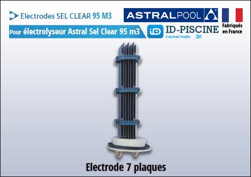 Electrode Astral pour électrolyseur Sel Clear 95 m3 - Modèle électrode Astral Sel Clear 95 M3