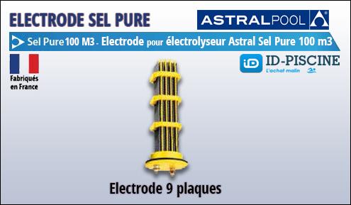 Electrode Astral pour électrolyseur Sel Pure 100 m3 - Modèle électrode 9 plaques Astral Sel Pure 100 M3
