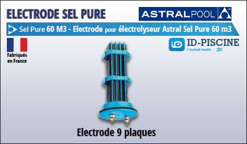 Electrode Astral pour électrolyseur Sel Pure 60 m3 - Modèle électrode 9 plaques Astral Sel Pure 60 M3