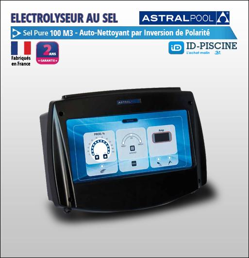 Electrolyseur au sel Astral Sel Pure 100 m3 compact et efficace pour piscine jusqu'à 100m3