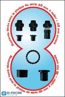 Raccords de fixation pour platine de filtration VIPool 6M3/H