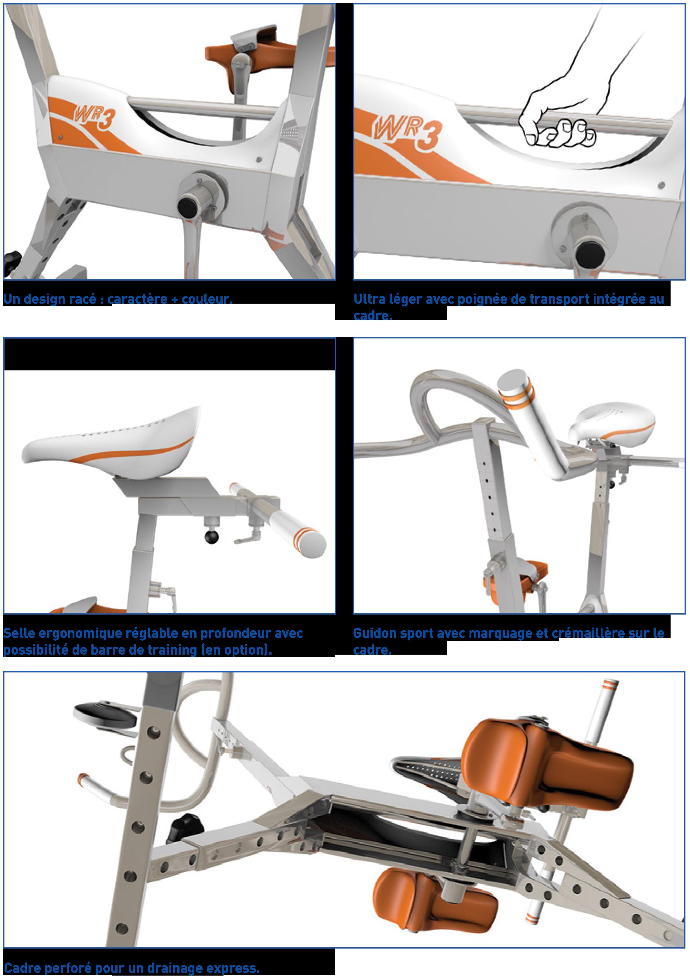 Innovations Technologiques du vélo pour piscine WR3 de Waterflex