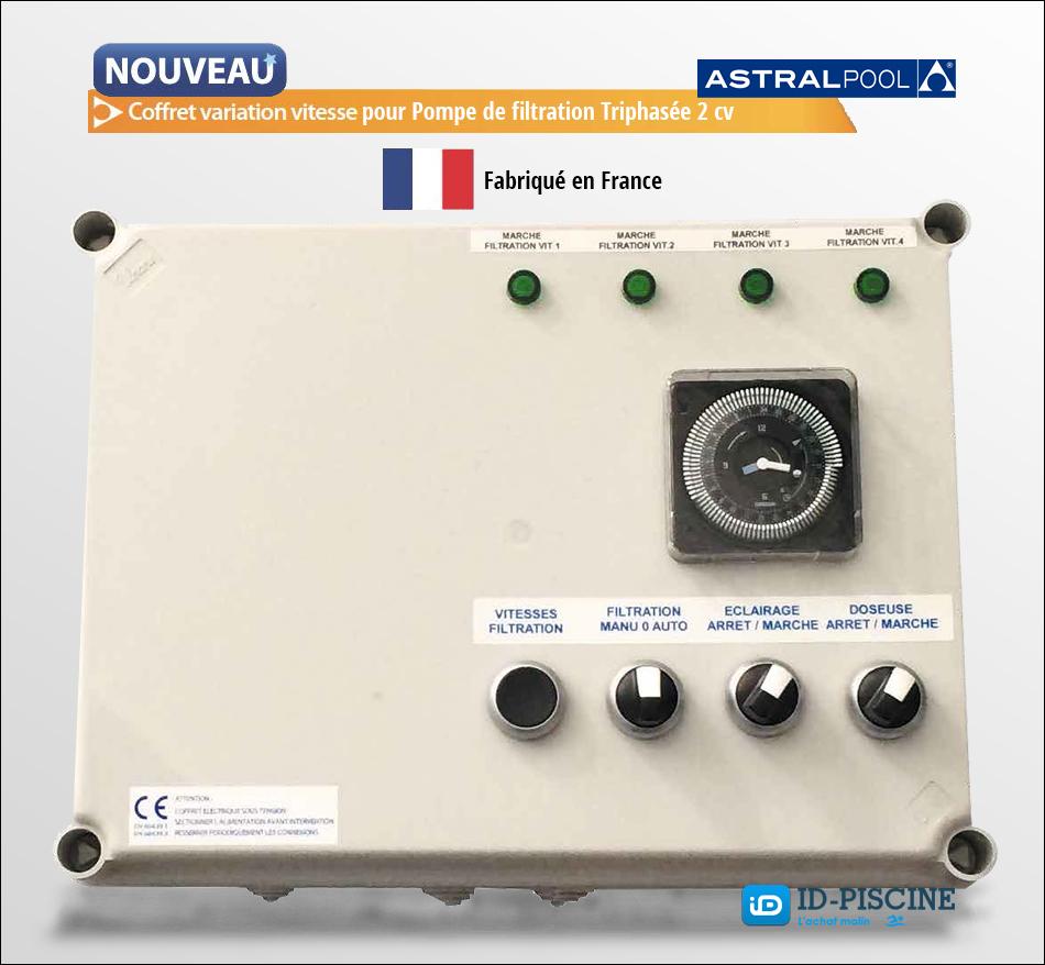 Coffret variation vitesse Astral pour pompe de filtratrion triphasée de 2 cv - Accessoire pompe de flltration Astral chez Id-Piscine.