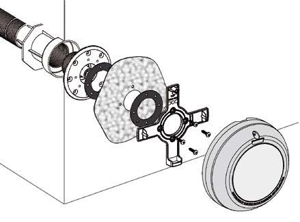 schéma de montage du projecteur pour piscine avec liner et préfabriquée Astral