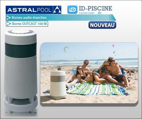 Borne audio étanche Astral Outcast 100 Watts - Enceinte de sonorisation extérieure pour abords de piscine - ID-Piscine