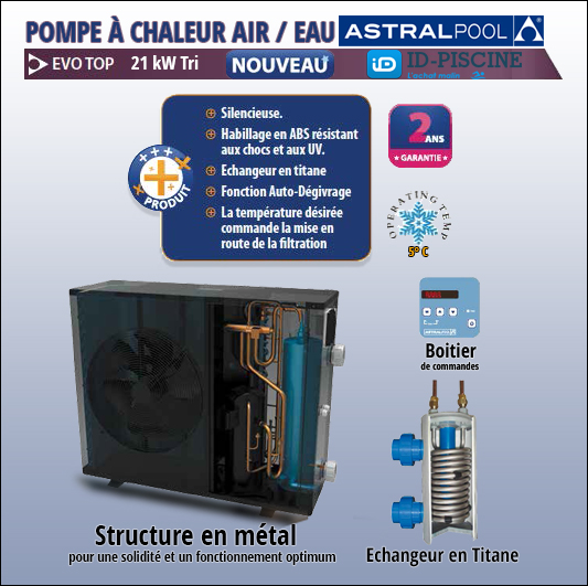 Pompe à chaleur Astral Evo Top 21 kW Tri - une pompe à chaleur complète et performante.