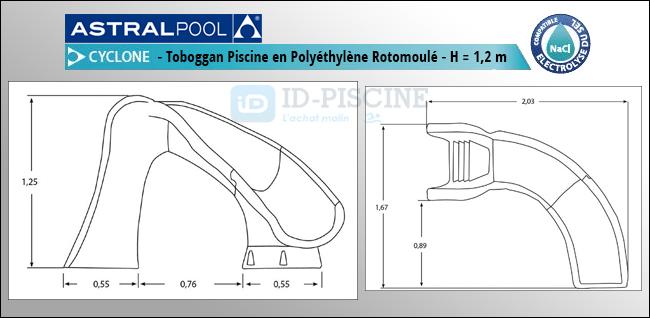 Toboggan piscine Astral Typhoon - Hauteur 120 cm - Spécial piscine enterrée - ID-Piscine