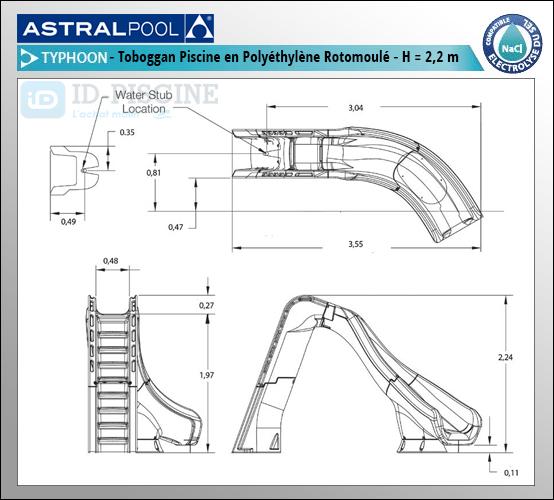 Toboggan piscine Astral Typhoon - Hauteur 220 cm - Spécial piscine enterrée - ID-Piscine